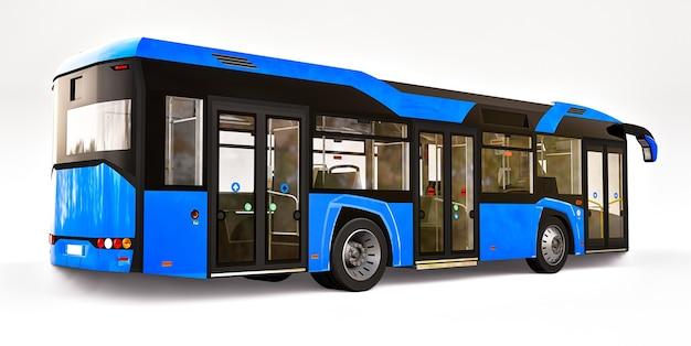 Ônibus azul urbano mediun em um fundo branco e isolado. renderização 3d.