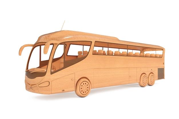 Ônibus de turismo de ônibus de madeira abstrata em um fundo branco. renderização 3d.