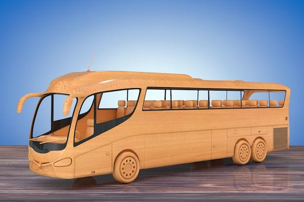 Ônibus de turismo de ônibus de madeira abstrata em uma mesa de madeira. renderização 3d.
