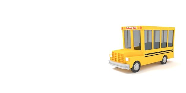 Ônibus escolar amarelo dos desenhos animados 3d render