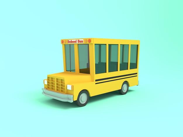 Ônibus escolar amarelo dos desenhos animados renderização em 3d