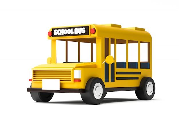 Ônibus escolar amarelo isolado no fundo branco com volta ao conceito de escola. automóvel de ônibus escolar clássico. renderização em 3d.