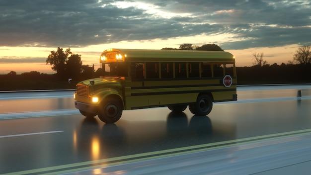 Ônibus escolar dirigindo na estrada de asfalto ao pôr do sol