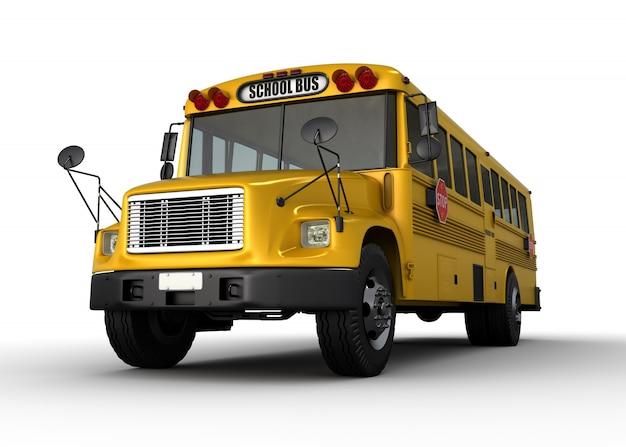 Ônibus escolar - renderização em 3d