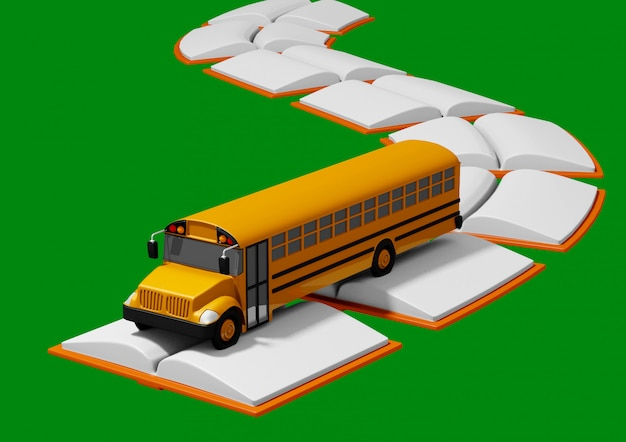 Ônibus escolar viajando ao longo da estrada construída de livros. volta ao conceito de escola