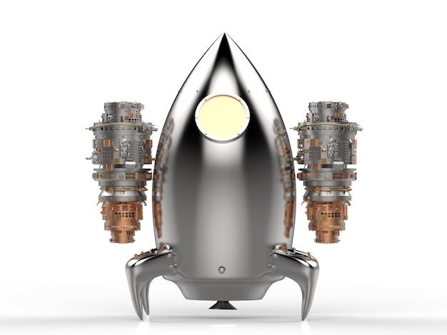 Ônibus espacial com renderização em 3d de metal brilhante