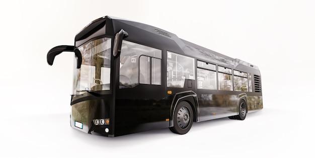 Ônibus preto urbano da mediun em um fundo branco. renderização 3d.