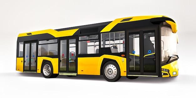 Ônibus urbano amarelo da mediun em uma superfície branca