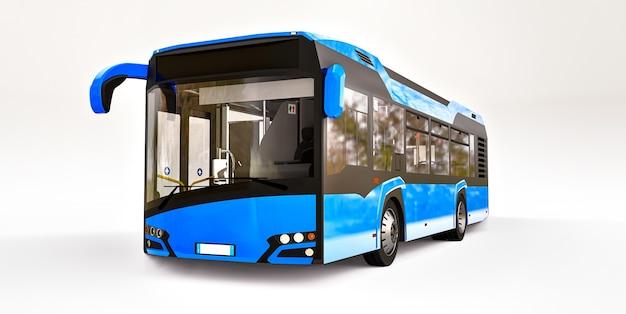 Ônibus urbano azul da mediun em um fundo branco e isolado