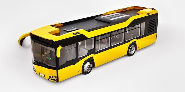 Ônibus urbano de mediun amarelo em um fundo branco. renderização 3d.