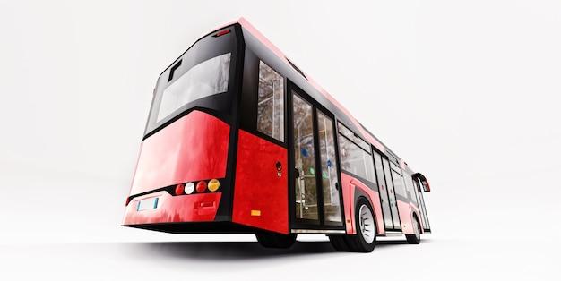 Ônibus vermelho urbano mediun em um fundo branco e isolado. renderização 3d.
