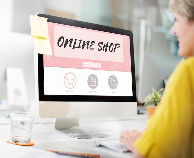 Online shop compre internet shopping store concept
