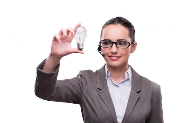 Operador de centro de chamada com lâmpada isolada no branco