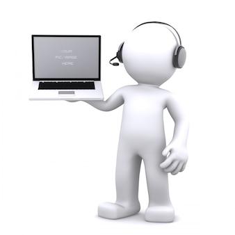 Operador de telefone de suporte 3d no fone de ouvido