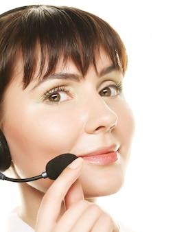 Operador de telefone de suporte alegre