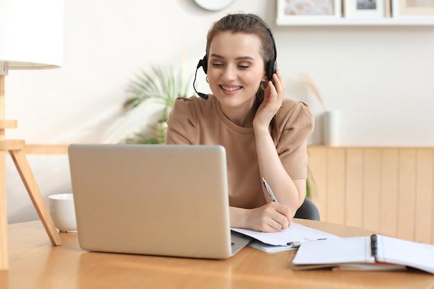 Operador freelance falando com fones de ouvido e clientes de consultoria em casa.