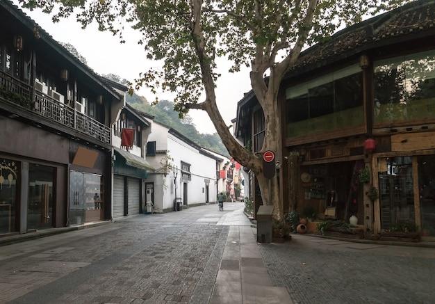 Opinião antiga da rua de qinghefang na província de zhejiang china da cidade de hangzhou