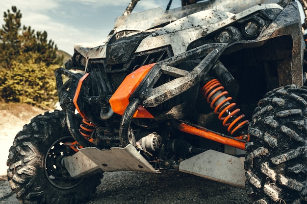 Opinião da cauda do close-up da bicicleta do quadrilátero de atv.