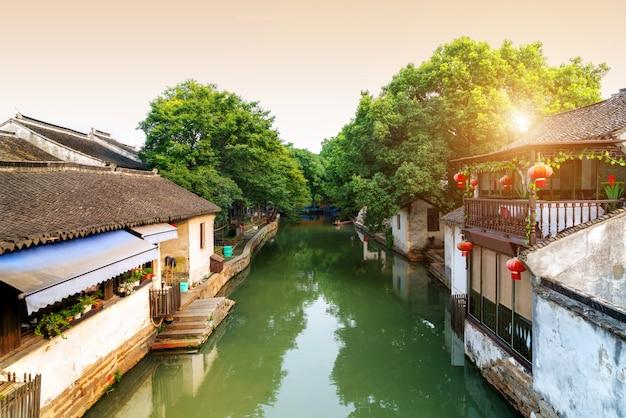Opinião da noite da cidade antiga de suzhou