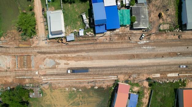 Opinião do trabalhador da construção do aboveroad da vista aérea do zangão.