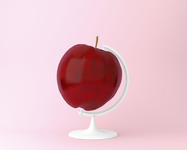 Orb de esfera de globo conceitos de maçã em fundo rosa pastel
