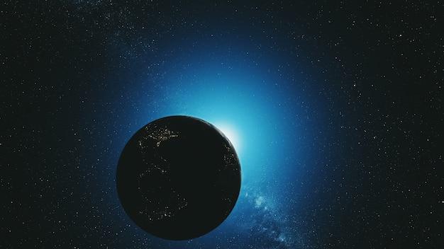 Órbita terrestre com radiação solar azul reversa no espaço exterior
