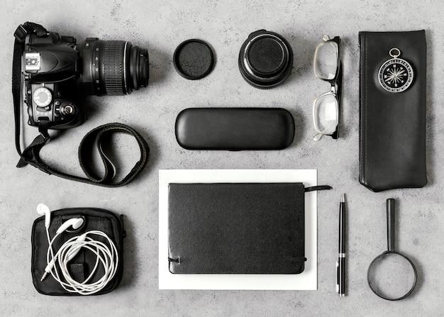 Organização de diferentes elementos de viagem