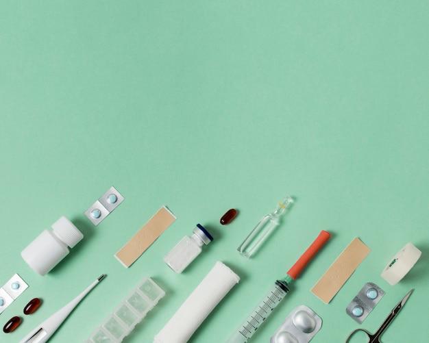 Organização de elementos de natureza morta médica