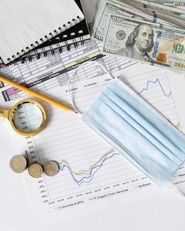 Organização de elementos financeiros e gráfico com máscara médica