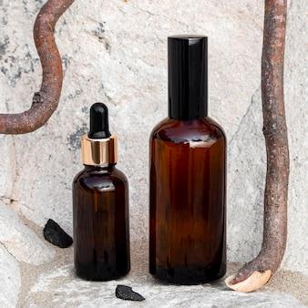 Organização de produtos de beleza para a pele