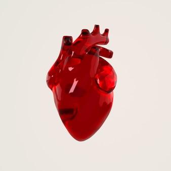 Órgão de coração de vidro humano com artérias e renderização de aorta