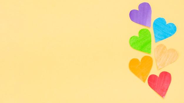 Orgulho lgbt sociedade dia corações coloridos