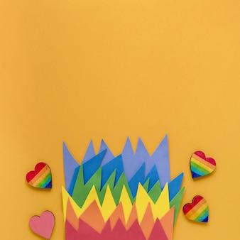 Origami de cópia-espaço arco-íris