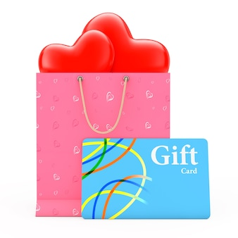 Ornamentado com papel de corações e corações dentro da sacola de compras com cartão-presente em um fundo branco. renderização 3d.