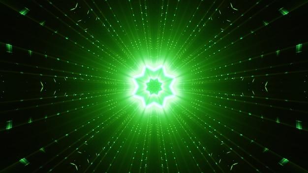 Ornamento abstrato em forma de estrela e vigas retas brilhando com luz de néon verde vívida