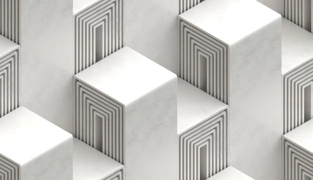 Ornamento arquitetônico 3d perfeito em forma de degraus cinza com bordas douradas