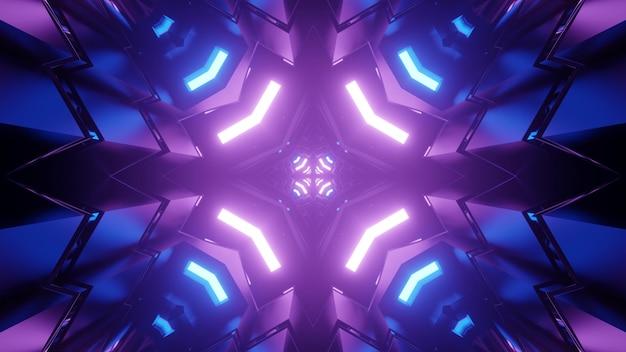 Ornamento de caleidoscópio com luzes de néon futuristas azuis e roxas brilhantes refletindo em figuras simétricas na ilustração 3d