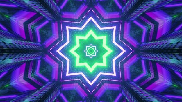 Ornamento de caleidoscópio em forma de estrela com luzes de néon 4k uhd ilustração 3d
