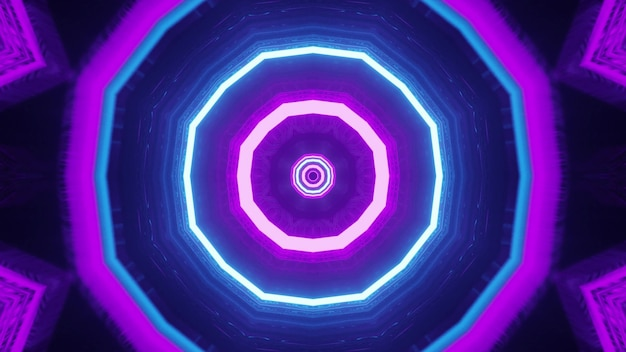 Ornamento de néon octogonal ilustração 4k uhd 3d