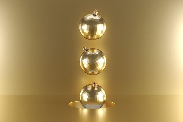 Ornamento de ouro flutuando em ouro. idéia mínima de natal. renderização em 3d.