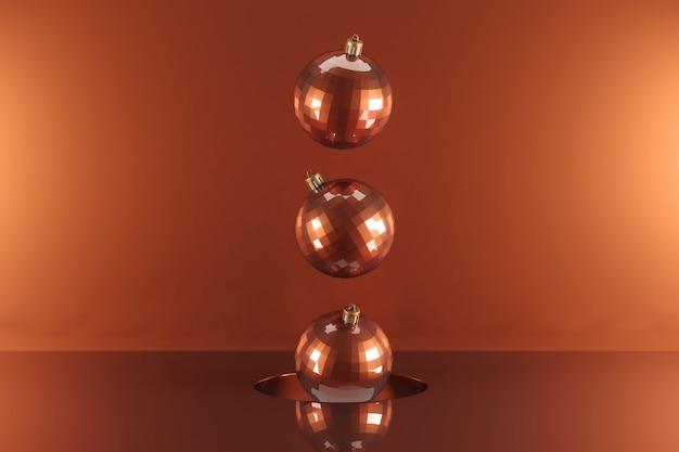 Ornamento de ouro vermelho flutuando em ouro vermelho. idéia mínima de natal. renderização em 3d.