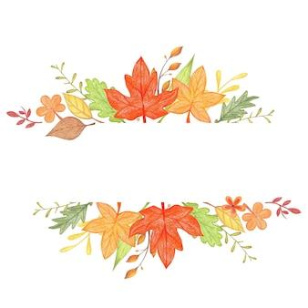 Ornamento de outono com folhas de fundo