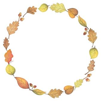 Ornamento de outono com folhas e moldura de bolota de carvalhos