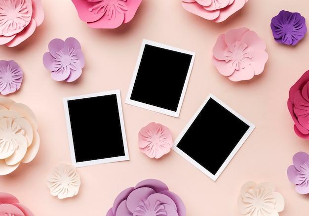 Ornamento floral de papel com fotos