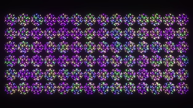 Ornamento geométrico de esferas coloridas ilustração 3d 4k uhd