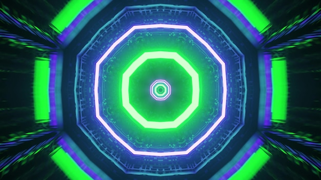 Ornamento geométrico de néon 4k uhd ilustração 3d