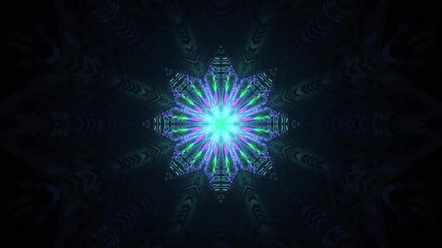 Ornamento geométrico de néon colorido na escuridão ilustração 3d 4k uhd