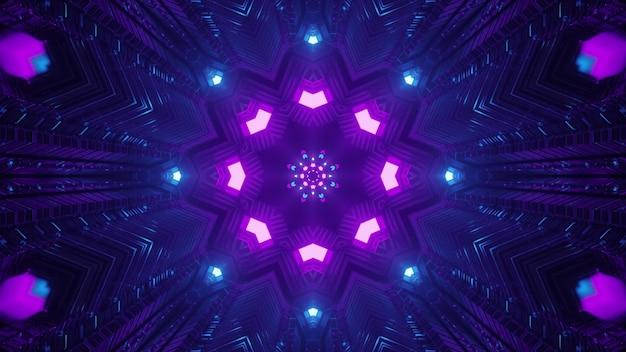 Ornamento geométrico de néon no túnel escuro ilustração 3d 4k uhd