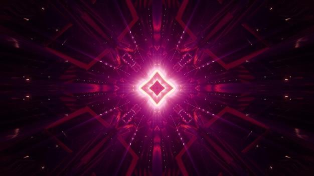 Ornamento geométrico simétrico abstrato brilhando com luz de néon vermelha na escuridão