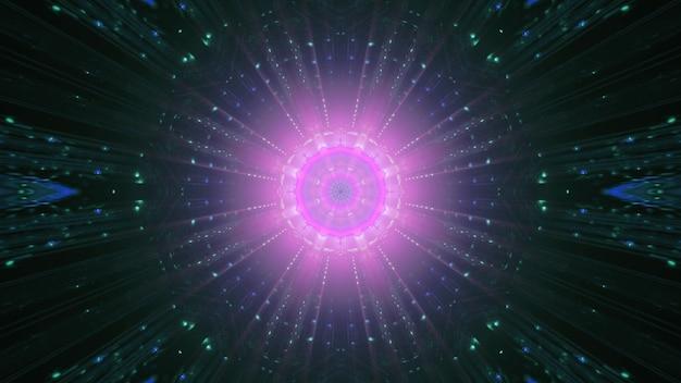 Ornamento redondo simétrico com raios brilhando com luz de néon violeta